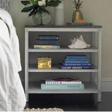 Nightstand With Shelf Three Shelf Brown Top Nightstand