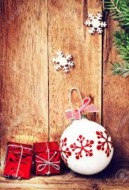 fashioned ornaments wooden background with