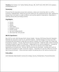 Physical Education Resume Examples by Security Specialist Resume Sample Gallery Creawizard Com