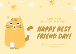 card for sick friend yellow and white sick cat best friend day card templates by