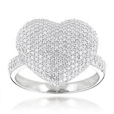 diamond heart ring heart shaped jewelry 14k gold diamond heart ring 1 15ct
