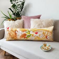 Upcycled Pillows - wedding kimono silk bolster cushion golden bird embroidery