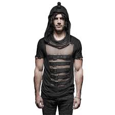 steampunk style striped hoodie t shirt doof store