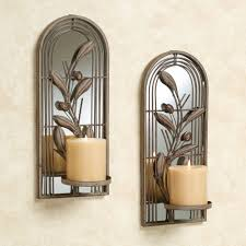 wondrous mirrored arched candle holders design with floral ornate