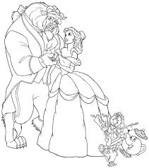 free printable beauty beast cartoon coloring pages