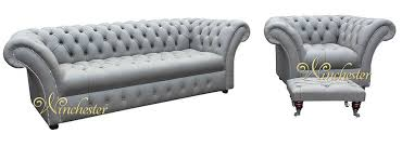 Grey Leather Chesterfield Sofa Chesterfield Grosvenor 3 Seater Armchair Footstool Sofa Settee