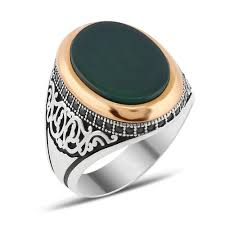 men rings zircon and green aqeeq silver men ring boutique ottoman jewelry