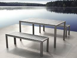 Outdoor Dining Bench Aluminum Dining Set With Benches Gray Nardo