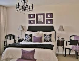Bedroom Decorating Ideas With Black Furniture White Wood Round Shaped Bedside Table Purple Master Bedroom Ideas