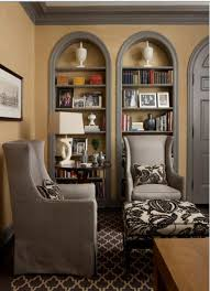 Arched Bookcase Tom Stringer Gorgeous Arched Bookcase With Linen Wallpaper