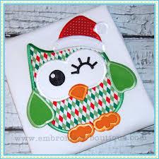 christmas applique christmas owl applique