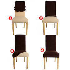 Dining Chair Short Slipcovers 1 Piece 24 Solid Colors Polyester Spandex Dining Chair Covers For