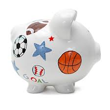 Personalized Silver Piggy Bank Personalized Hand Painted Sports Piggy Bank Personalization Un