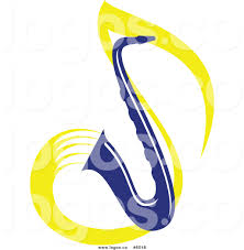 royalty free vector of a logo of a blue saxophone and yellow
