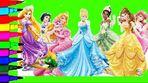 snow white coloring book disney princess tiana jasmine belle rapunzel ariel mulan