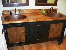 Farmhouse Style Bathroom Vanity by Double Bathroom Vanity With Copper Sinks U0026 Faucets On Legs