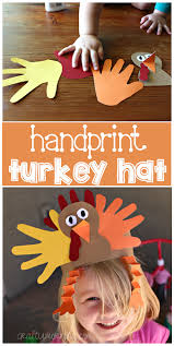 handprint turkey hat for a thanksgiving craft crafty morning
