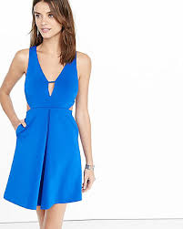 blue cutout fit and flare dress express