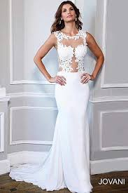 ivory and long mermaid lace gown with a sheer neckline