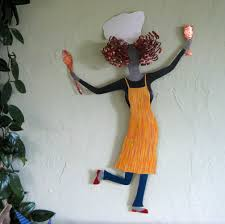 Kitchen Chef Decor by Metal Sculpture Kitchen Wall Art Large Dancing Chef Dining
