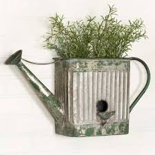 herb wall metal watering can planter outdoor flowers herbs wall patio rustic