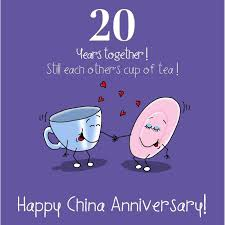 20 year wedding anniversary fax potato 20th wedding china anniversary card