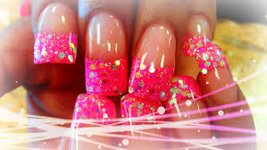 p1 how to glittery acrylic nail designs youtube