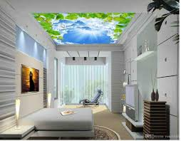 blue sky white clouds pigeons green leaves vines ceiling roof