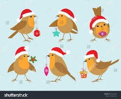 set robins santa hats christmas decorations stock vector 205663684