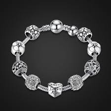 flower charm bracelet images Silver plated amour love openwork heart white flower charm jpg