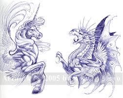 unicorn and dragon sketch by rachaelm5 on deviantart