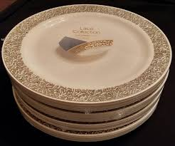 Decorative Plastic Plates For Wedding Amazon Com Party Bargains Ivory Gold Plastic Plate Elegant Gold