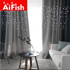 Blue Grey Curtains Korean Hollow Thick Shade Curtain For The Living Room Navy