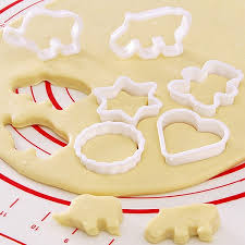 6pcs animal geometry plastic cookie cutter mold biscuit fondant