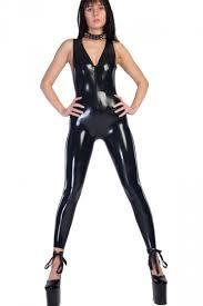bodysuit jumpsuit black womens look faux leather catsuit bodysuit costume