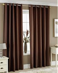 Curtains Meaning In Hindi Buy Pindia 3 Piece Eyelet Polyester Door Curtain Set 7ft Brown