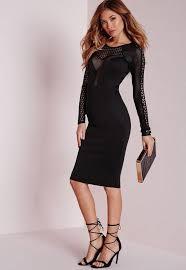 black dress uk mesh insert sleeve midi dress black missguided