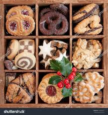 assorted christmas cookies wooden box holly stock photo 158336237