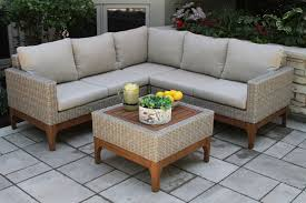 Outdoor Sofa Sectional Set 4pc Ash Wicker U0026 Eucalyptus Wood Sectional Sofa Set