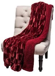 Pottery Barn Fur Blanket Chanasya Super Soft Cozy Sherpa Fuzzy Fur Warm Maroon Red Throw