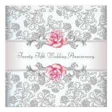 pink damask silver 25th wedding anniversary card zazzle