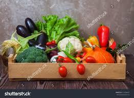 fresh autumn vegetables wooden box organic stock photo 714336457