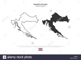 Balkans Map Republic Of Croatia Isolated Map And Official Flag Icons Vector
