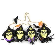 online shop black fabric skull garland halloween bunting with bats