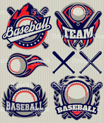 set sports template with ball and bats for baseball stock vector