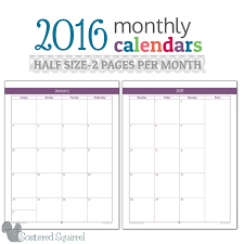 printable monthly planner 2016 free half size 2016 monthly calendar printables planners organizations