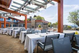 the heated glass enclosed patio and courtyard with heaters fire