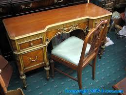 1940s Desk Ladies Vanity Desk Chair Restored Gold Satin Wood 1940s Shop