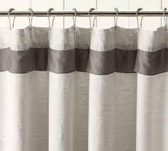 White Linen Shower Curtain Ruched Linen Shower Curtain Shower Curtains Throughout White