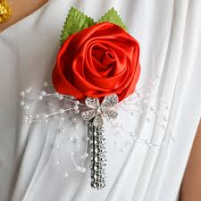 Wedding Boutonniere Wedding Prom Corsage Artificial Flower Brooch Handmade Wedding